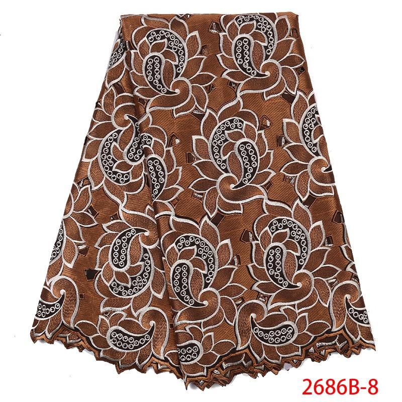 2019 High Quality Lace Nigerian Swiss Voile Lace Fabrics For Women Dress Swiss Voile Laces Switzerland Cotton Fabric YA2686B-8