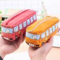 16pcs Cute Creative School Bus Large Pencil Bags for School Office Supplies Kawaii Stationery Pencil Pouch Zipper Bags Organizer