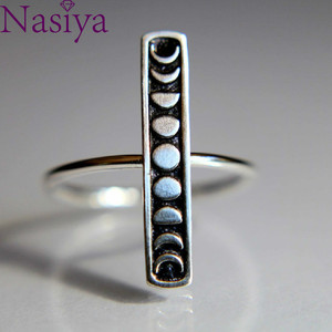Moon Total Eclipse Ring 925 Silver Ring Simple Finger Ring Fine Jewelry For Men Women Gift