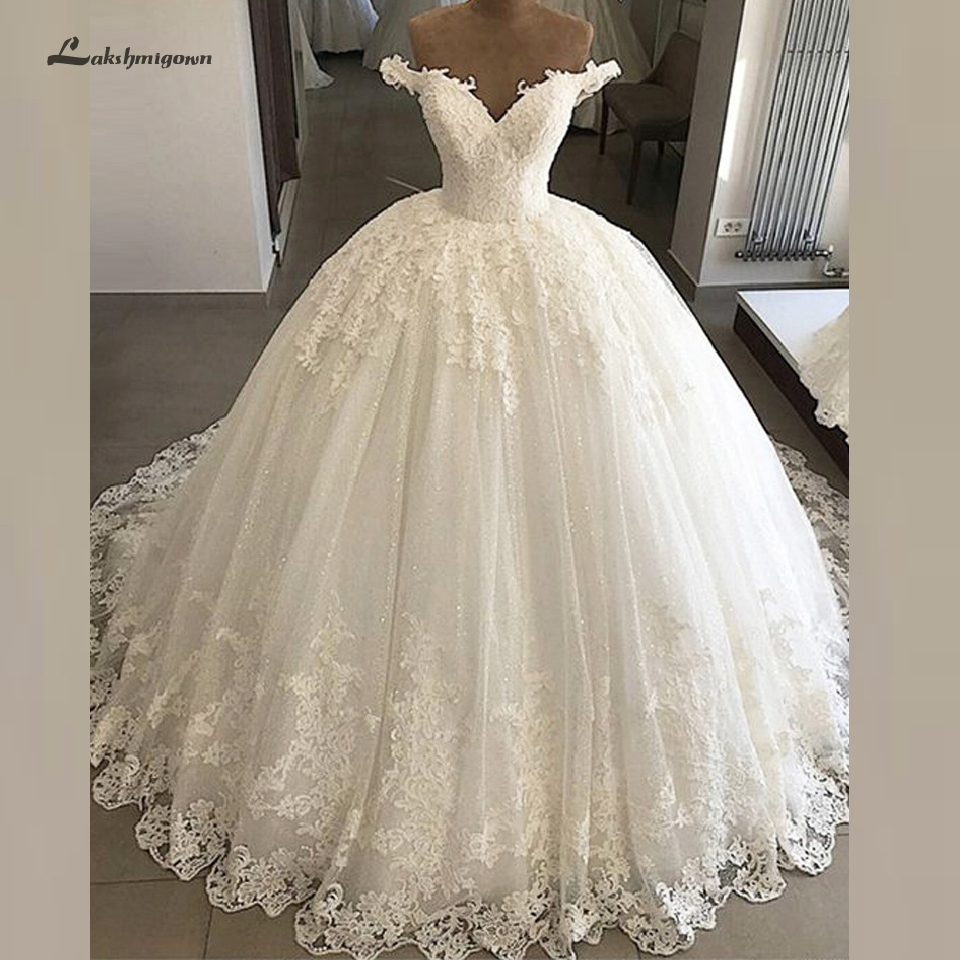 Lakshmigown Luxury Off Shoulder Wedding Gowns 2019 Vintage Lace Appliques Bridal Gown African Wedding Dresses Vestidos De Novia