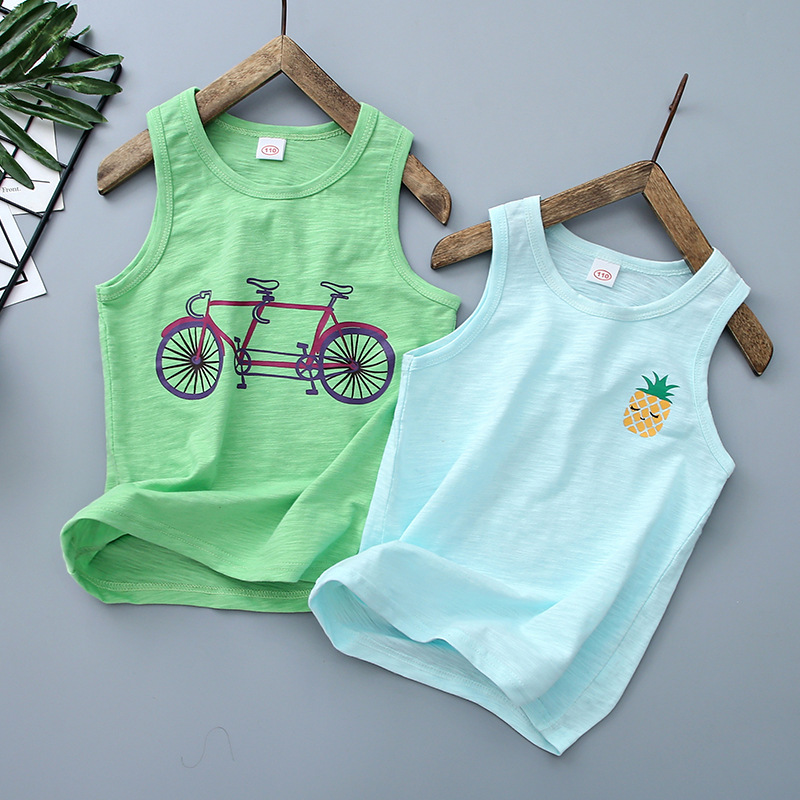 2020 Summer Children's Cotton Vest Bamboo Tank Top For Boys Cartoon Printed Boys Undershirt Teenager Underwear Clothing 2-12T