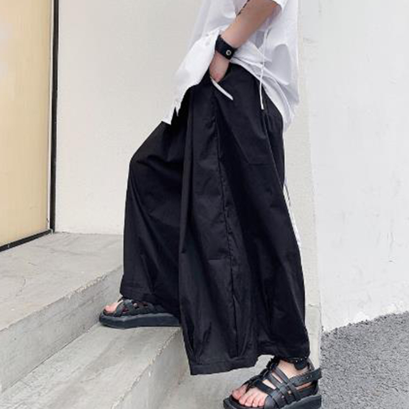 Men Loose Casual Black Wide Leg Pants Male Streetwear Hip Hop Punk Gothic Skirt Pants Japan Style Kimono Trousers