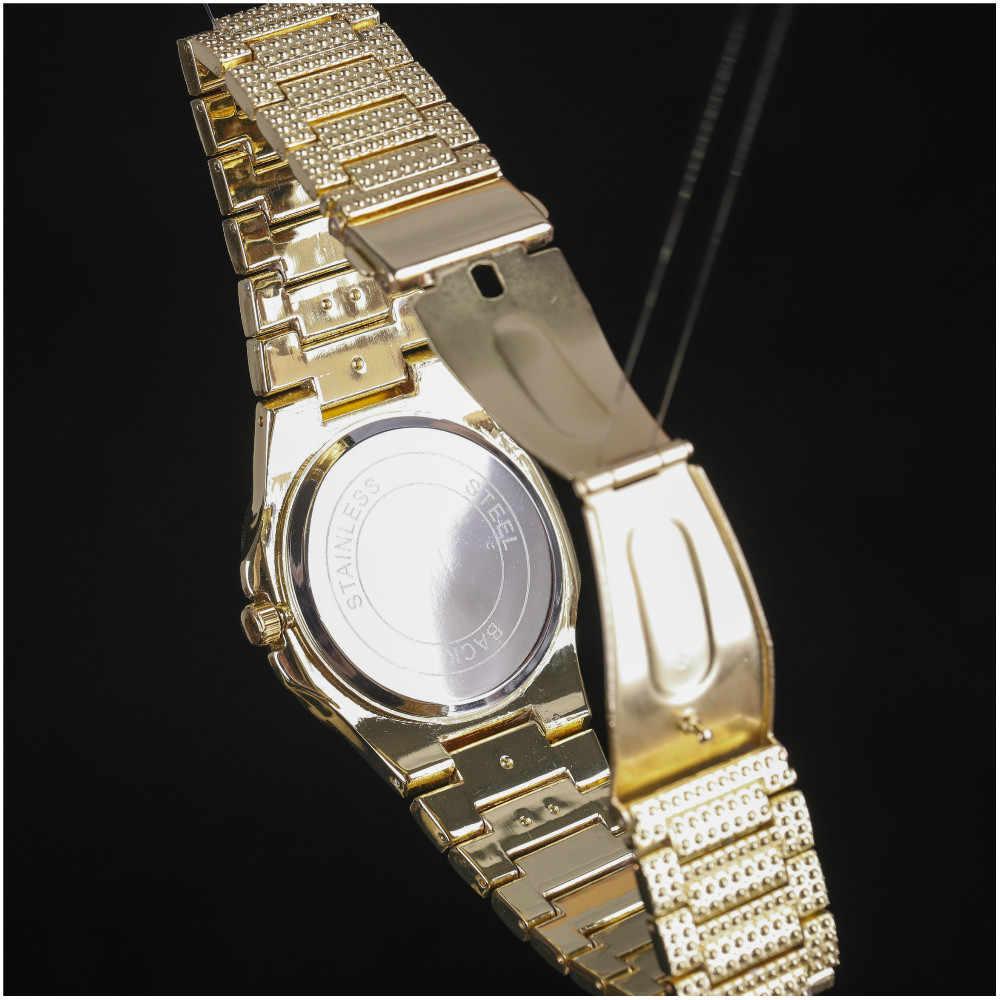 היפ הופ גברים זהב צבע צמיד יוקרה גברים זהב כסף שעון & צמיד קרח החוצה קובני שעון גביש מיאמי שרשרת היפ הופ לגברים