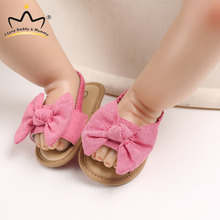 Shoes Sandals Newborn Baby-Girl Pink Anti-Slip Soft Cotton Summer Big-Bows Breathable