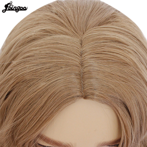 Image 5 - Ebingoo Captain Marvel High Temperature Fiber Brown Medium Length Body Wave Synthetic Cosplay Wigs Middle Part for Men Custome