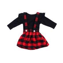 Комплекты одежды для девочек; Рождественская одежда принцессы для маленьких девочек; осенне-зимняя футболка+ комбинезон; комплект с платьем на бретелях