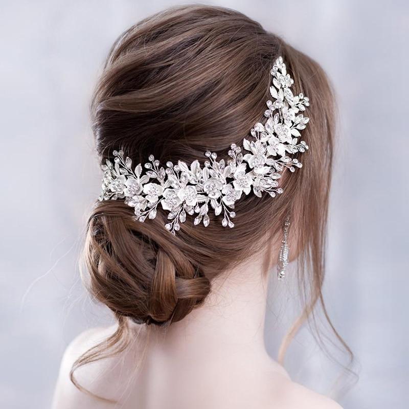 Trendy Silver Flower Bridal Headband Prom Tiara Wedding Hair Accessories Handmade Hair Vine Crystal Headband Bride Hair JewelryHair Jewelry   -
