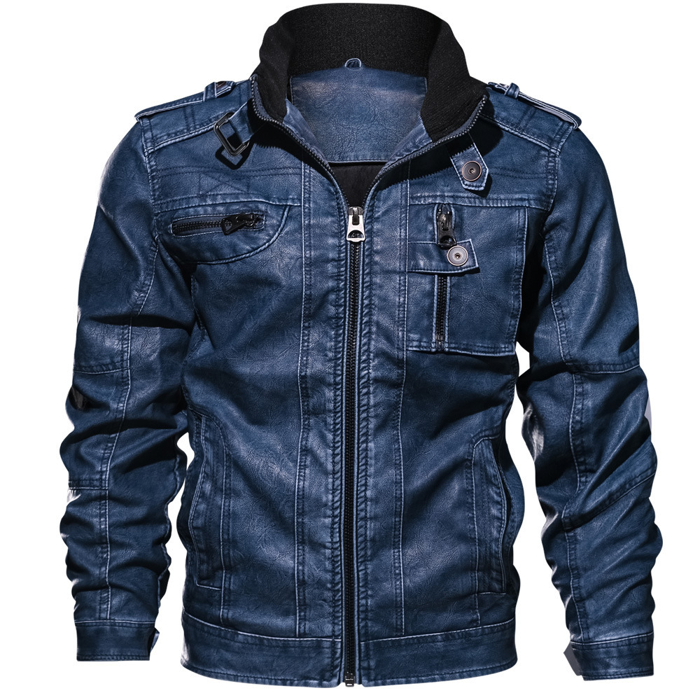 Autumn Slim Fit Faux Leather Motorcycle Jackets Man Coats Brand Clothing Outwear Safari Style 9XL Men PU Jacket Leather Coat