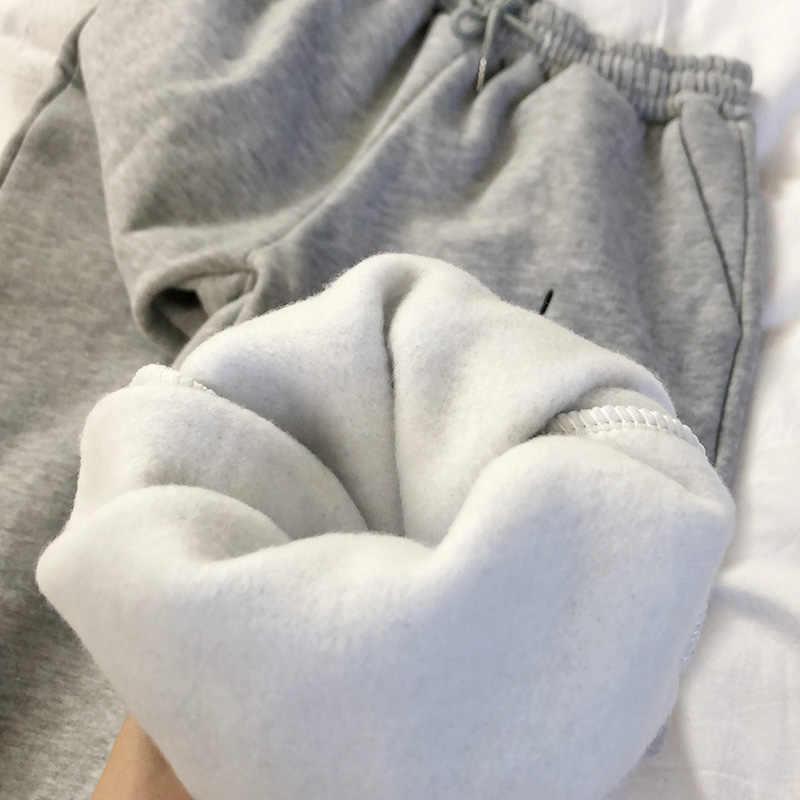 冬の女性のハーレムパンツフリース原宿黒パンツ女性日本スウェットパンツカジュアルレディー長ズボン底
