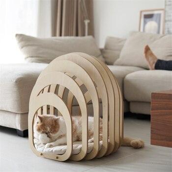 Кошачья кровать, домик, коврик для кошек, прохладное лето, кошачье гнездо, строительный тип, подушка для домашних животных, Портативные това