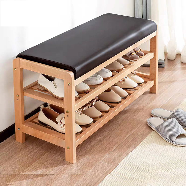 Solid Wood Shoe Storage Stool Living Room Shoe Rack Change Shoe Bench Cabinet Hallway Seat stool with shoe shelf