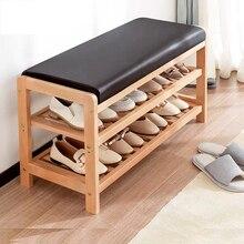 Solid Wood Shoe Storage Stool Living Room Shoe Rack Change Shoe Bench Cabinet Hallway Seat stool with shoe shelf