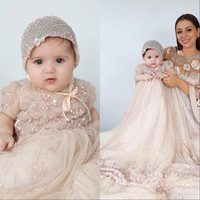 Bling Bling Champagne Baby Christening Gowns Bead Birthday Infant Girl Wear Baptism Outfits With Bonnet