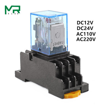 цена на 1 set MY4NJ small Electromagnetic relay Power Relay DC12V DC24V  AC110V AC220V Coil 4NO 4NC DIN Rail 14 pins + Base Mini relay