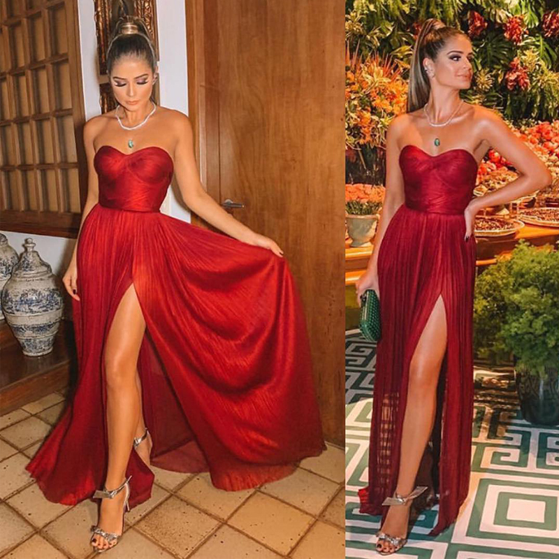 Strapless Red Long Evening Dresses Sexy Arabic Gowns Pleat Front Slit Formal Prom Dress Elegant Wedding Party Guest Dresses
