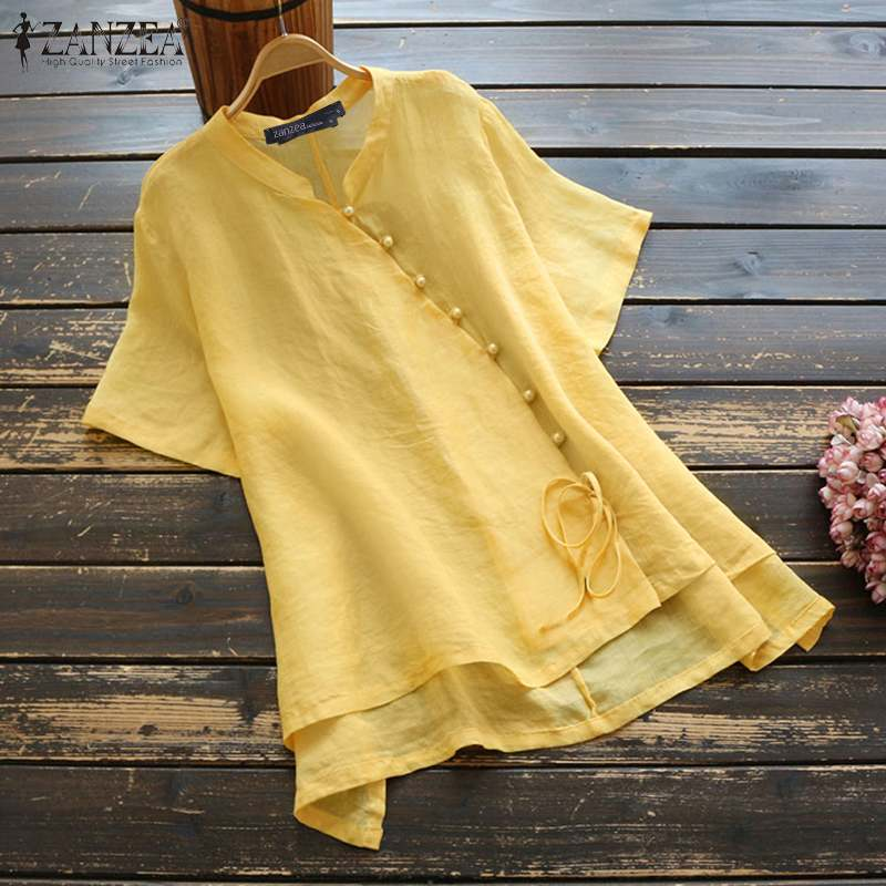 ZANZEA Women Vintage Cotton Linen Blouse Summer Short Sleeve Shirt Casual Solid Tops Tunic Female Buttons Blusas Chemise Mujer