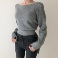 Women V Neck Lace Up Knitted Sexy Sweater Solid Irregular Hem Backless Sweater Pullovers Korean Long Sleeve Oversize Sweater