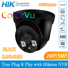 Hikvision Compatibel Colorvu Zwart 5MP Dome Poe Ip Camera 8MP Home Security Cctv Camera 30M Onvif H.265 P2P Plug & Play Ipc