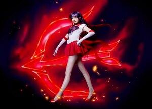 Image 3 - Sailor Moon Sailor Mars Rei Hino długie proste żaroodporne syntetyczne przebranie na karnawał włosy impreza z okazji Halloween peruka + darmowa peruka Cap