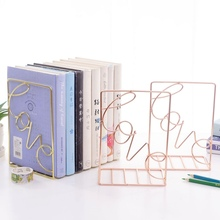 Iron Wire Metal Bookends Nordic Style Decorative Book Holder Stand Rack Dividers For Shelves Storage New