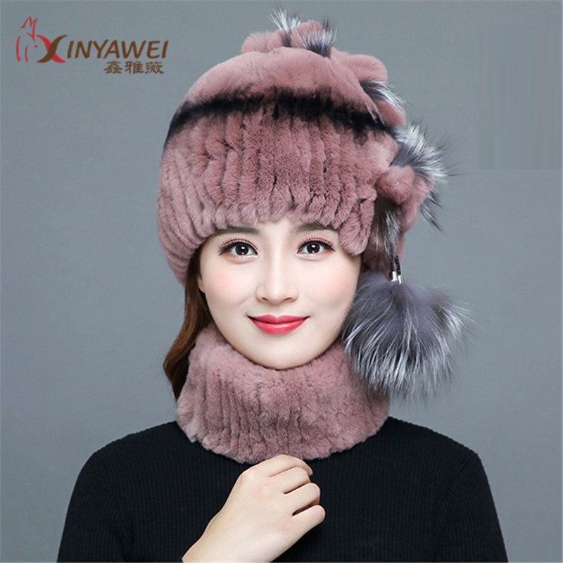 2019 Hot Fashion Real Rabbit Plish Ball Hat Winter Warm Boys And Girls Two-Piece Fur Hat Fur Scarf Hat New Arrival.