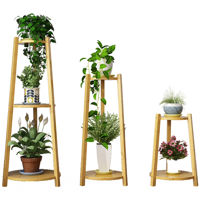 Flower Shelf Indoor Specials Fleshy Flower Pot Rack Province Space Balcony Decoration Solid Wood Living Room Green Flower Stand