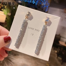 Fashion With Exaggerated Drill Tassel Earrings Female Temperament Long Eardrop Show Face Women Earring Hot N01