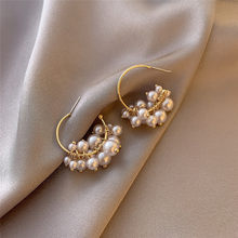 LETAPI Korea Design Drop Earrings Gold Color Metal Geometric Irregular Circle Simulated Pearl Earrings For Women Girl Gift