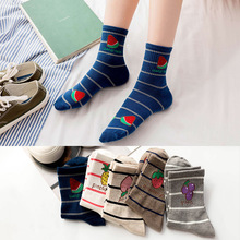 20 Pair/set Sock Lady Autumn and Winter New Cotton Breathable Women Socks Leisure Fruit Middle Stock Wholesale