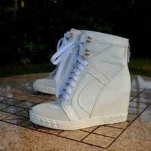 INS seksowna, damska wysoka góra 8CM wewnętrzna pięta sznurowane buty sportowe biała skóra wężowa wysoka narzutka z koronki up damskie sneakersy prawdziwe zdjęcia