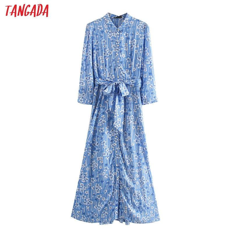 Tangada Fashion Women Blue Flowers Print Dress With Slash Long Sleeve Ladies Elegant Work Midi Dress Vestidos JE59