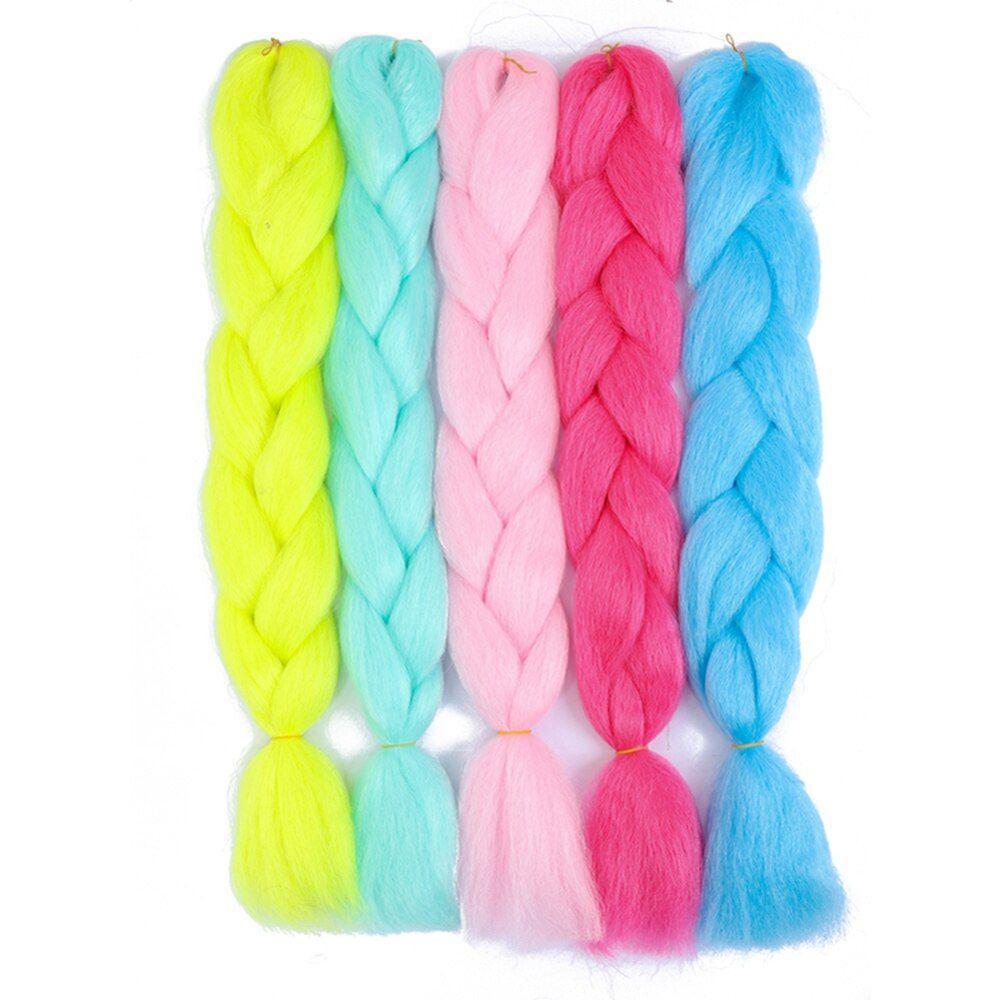 Светящиеся синтетические волосы, 24 дюйма, 100 г, Джамбо, блестящие волосы в темноте, мягкие плетеные волосы для наращивания, рождественский по...