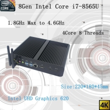 Newest 8Gen Fanless mini pc i7 8565U CPU 4.6GHz Intel UHD620 win10 Quad Core 8 Threads DDR4 2133 2400 2666 NUC Freeshipping pc