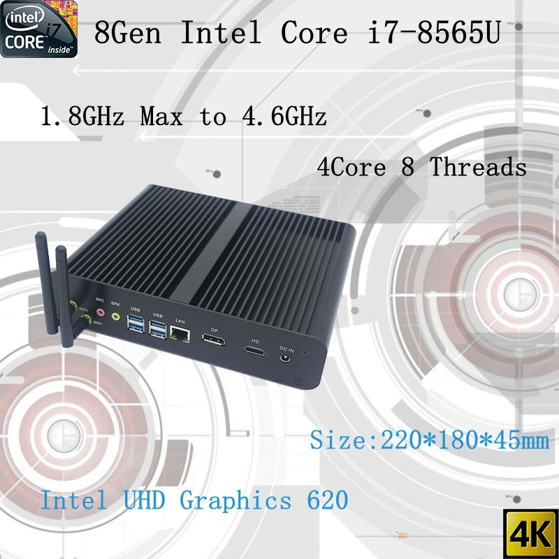 Newest 8Gen <font><b>Fanless</b></font> mini pc i7 8565U CPU 4.6GHz Intel UHD620 win10 Quad Core 8 Threads DDR4 2133 2400 2666 NUC Freeshipping pc image
