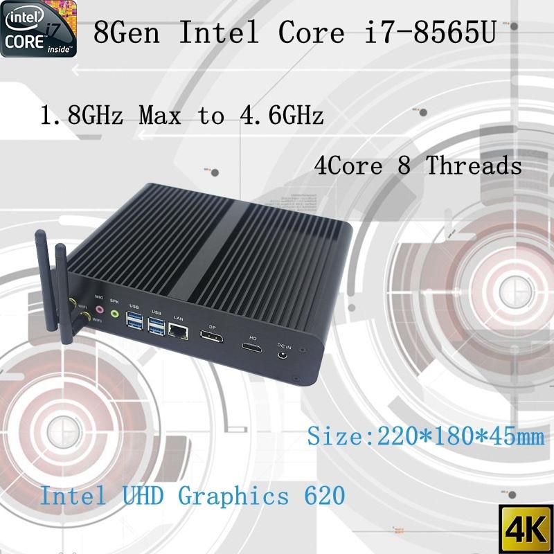 Plus récent 8Gen sans ventilateur mini pc i7 8565U CPU 4.6GHz Intel UHD620 win10 Quad Core 8 fils DDR4 2133 2400 2666 NUC livraison gratuite pc