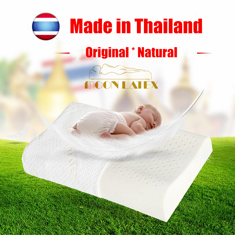 Moonlatex Kids Pillow Thailand Natural Latex Baby Bed Pillows For Sleeping Cartoon Child Children With Tencel Case Gift