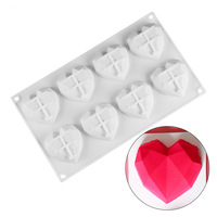 5pcs/lot 8 Creative Irregular Heart Shape Silicone Cake Mold Mousse Pastry And Confectionery Baking Mold For 3d Crafts CM196