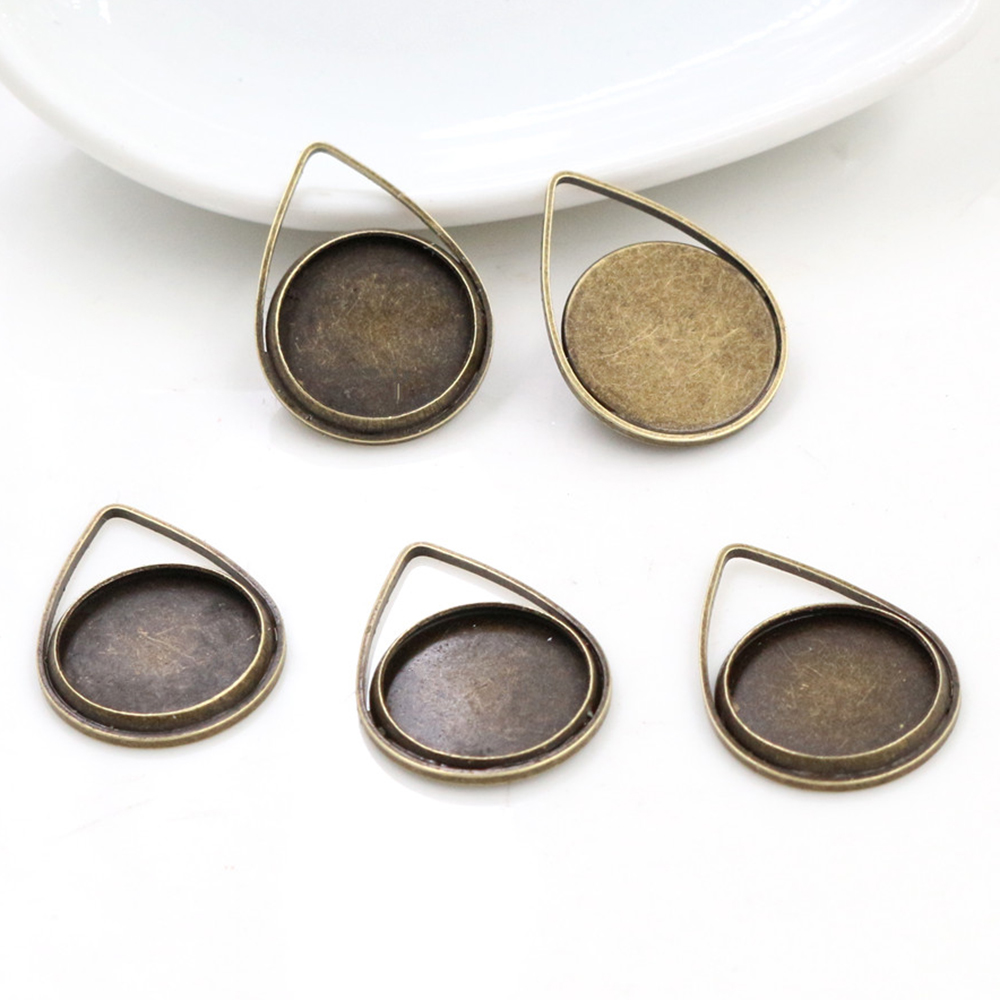 20pcs 12mm Inner Size Bronze Plated Brass Material Simple Style Cabochon Base Cameo Setting Charms Pendant Tray (A1-46)