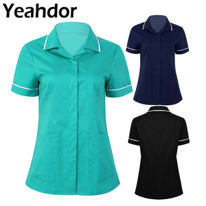 Image 1 - Womens Healthcare Tunic Turn down Collar Short Sleeves Button Down Cares Therapist Dentist Workwear Uniform Tops