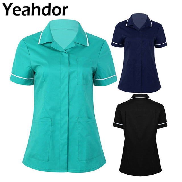 Womens Healthcare Tunic Turn down Collar Short Sleeves Button Down Cares Therapist Dentist Workwear Uniform Tops
