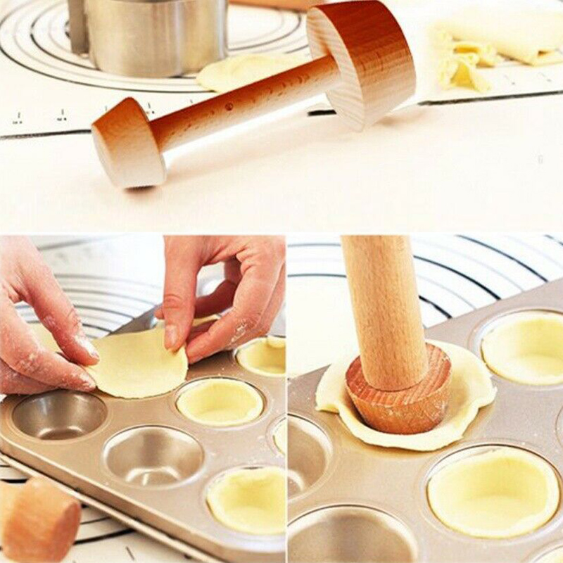 Wood Egg Tart Pusher Double-Side Egg Tart Tamper Tool Pastry Pie Cookie Cake Egg Tart Mold Decoration Baking Mold Kitchen Tools