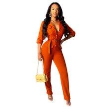 Echoine Women Rompers Autumn winter lapels pocket bodysuit button belt cardigan jumpsuit