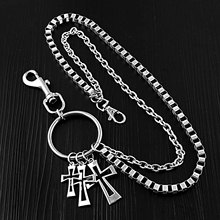 Hip Hop Rock Style Cross Key Chains Metal Wallet Belt Chain Trousers Hipster Pants For Punk Street Keyring Anti-lost Keychain punk street keychain trousers pants chain for women men multi layer metal wallet belt chains hipster keyring hiphop jewelry