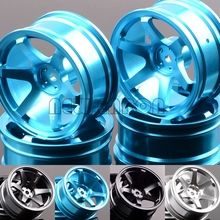 Nova roda de alumínio enron 4p 6 raios 52mm, jantes rc 1/10 on road drift traxxas hsp tamiya hpi quisho redcat sakura
