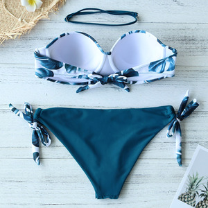 Image 3 - 2020 New Leaves Print Bikini Swimsuit Women Push Up Bikini Set Bandeau Swimwear Bathing Suit Brazilian Biquini Female