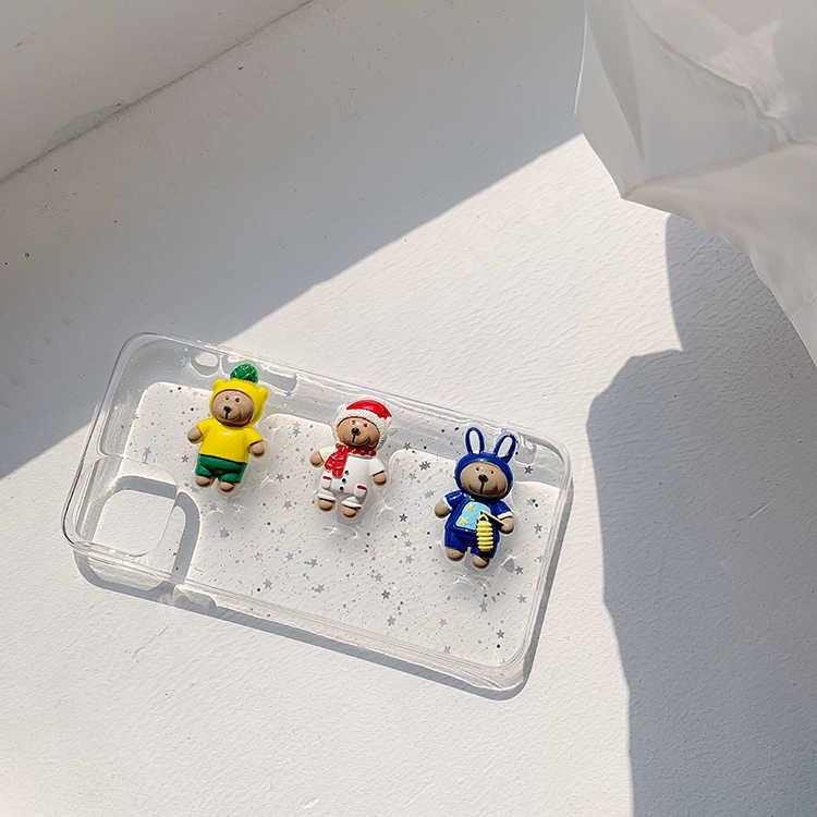 Động Vật Dễ Thương 3D Gấu Nhỏ Trong Suốt Mềm Thời Trang Điện Thoại Ốp Lưng Thời Trang Cho Iphone 7 8 Plus X S R Max 11 Pro Max Điện Thoại Vỏ