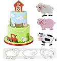 Мультфильм Животные Форма печенья прессформы с изображением милой свинки для мальчиков, коровы, овцы приспособление для резки десертов для...
