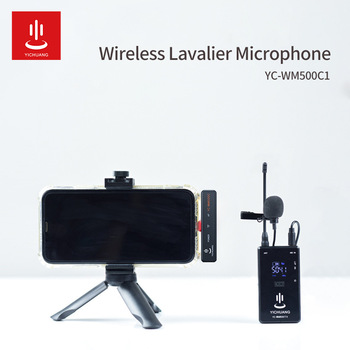 YICHUANG 20-Channel UHF Wireless Lavalier Lapel Microphone System Transmitter, Mini Lapel Mic & Portable Receiver Type-C jack xtuga uhf wireless lavalier lapel microphone system live recording mic with rechargeable transmitter