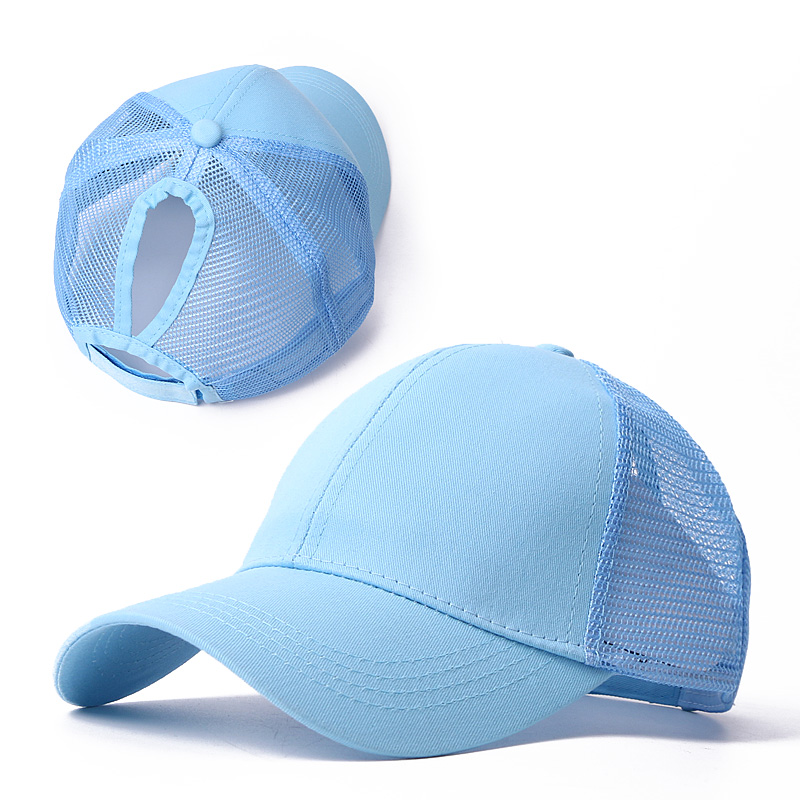 Ponytail Solid Color Mesh Baseball Cap For Women Men Plain Summer Sun Hat Unisex Adjustable Outdoor Hip-Hop Fashion Washed Caps