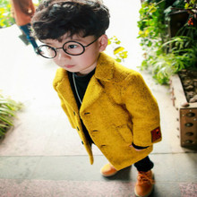 Г. Новые осенне-зимние детские пальто для маленьких мальчиков однобортные однотонные теплые куртки с длинными рукавами и отложным воротником для маленьких мальчиков